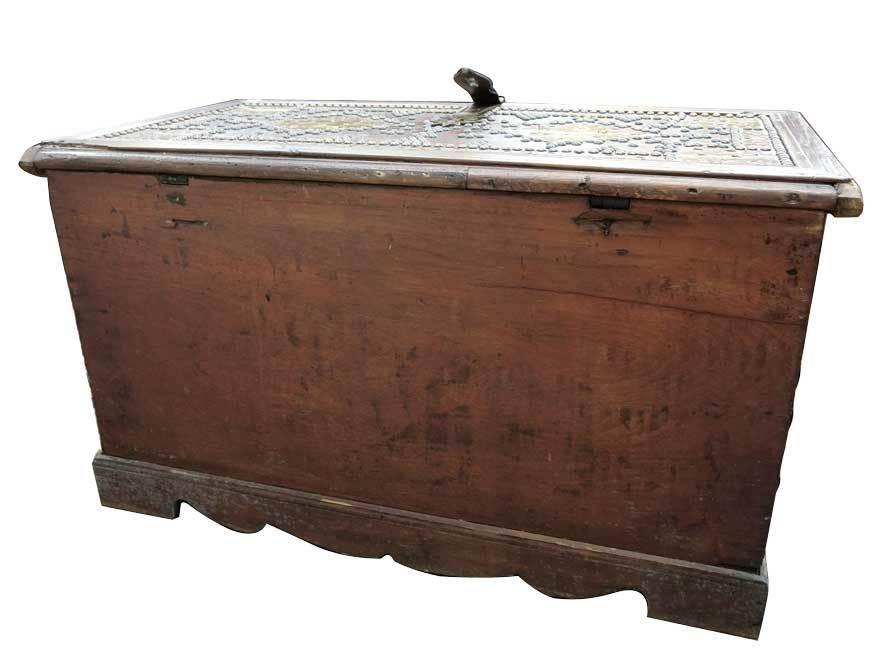 アンティーク アフリカ美術 木製鋲 コファー 箱 王侯酋長調度品  z-057_画像9