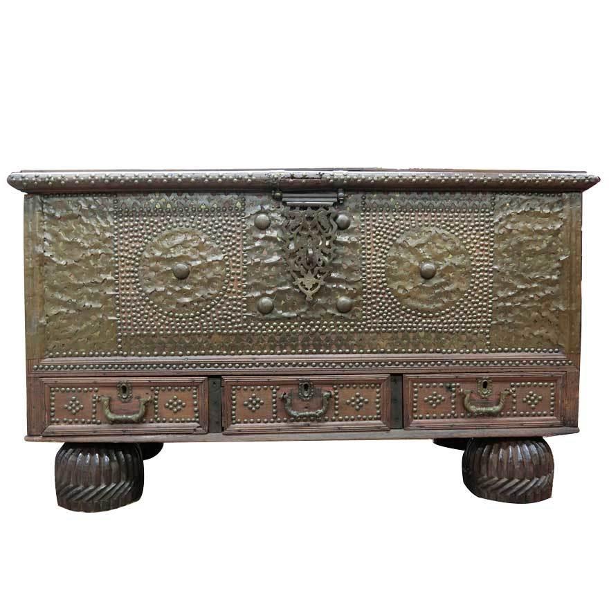 アンティーク アフリカ美術 木製鋲 コファー 箱 王侯酋長調度品 z-056_画像2