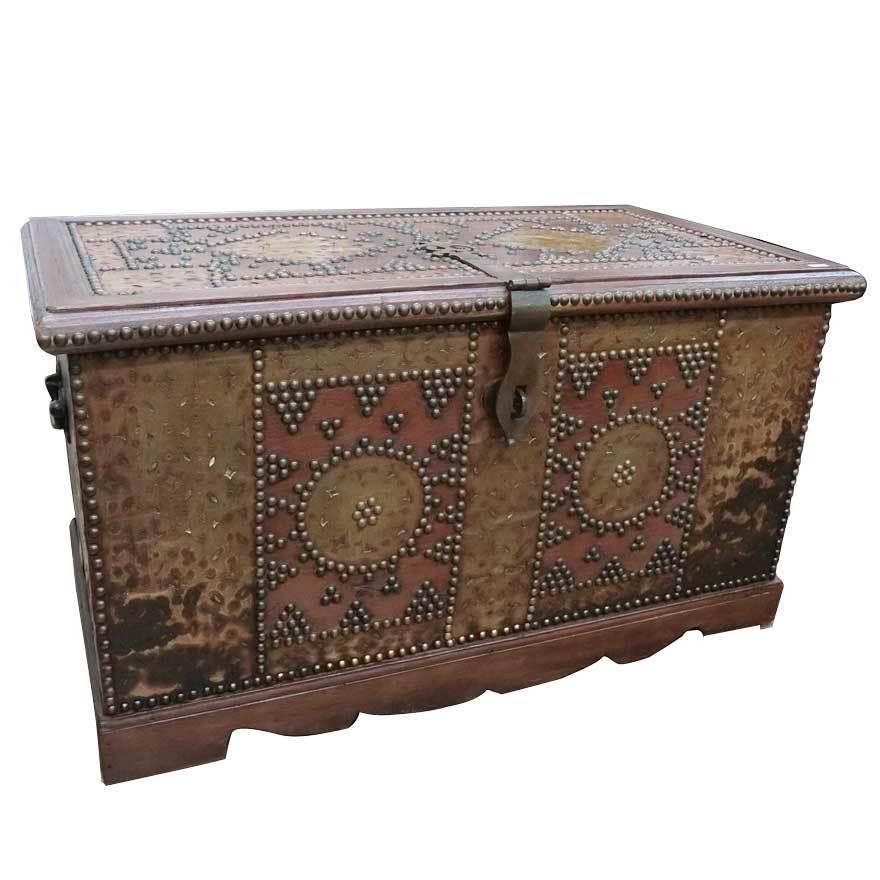 アンティーク アフリカ美術 木製鋲 コファー 箱 王侯酋長調度品  z-057_画像1