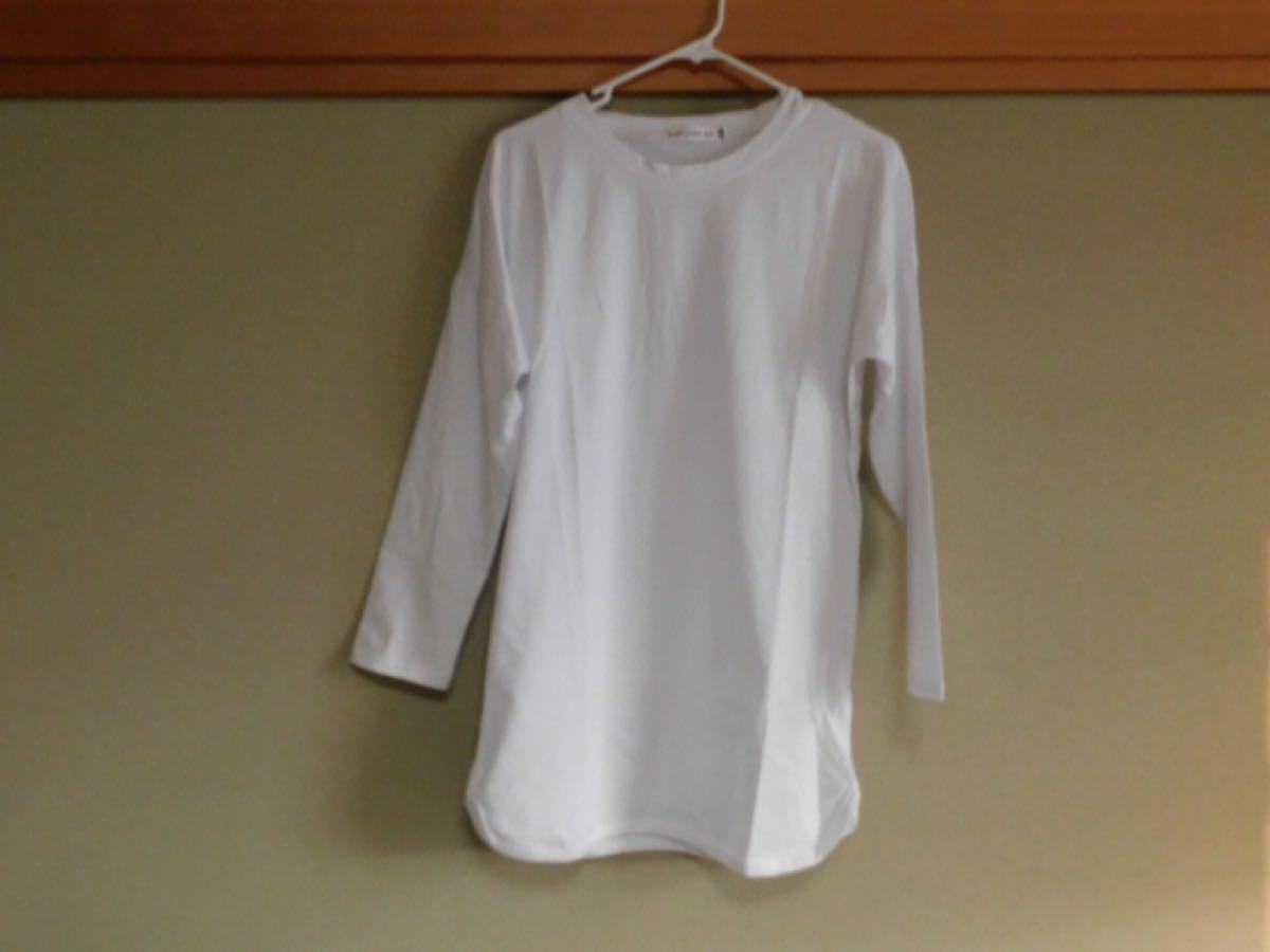 白Tシャツ カットソー 長袖 ラウンドカット カジュアル レディース