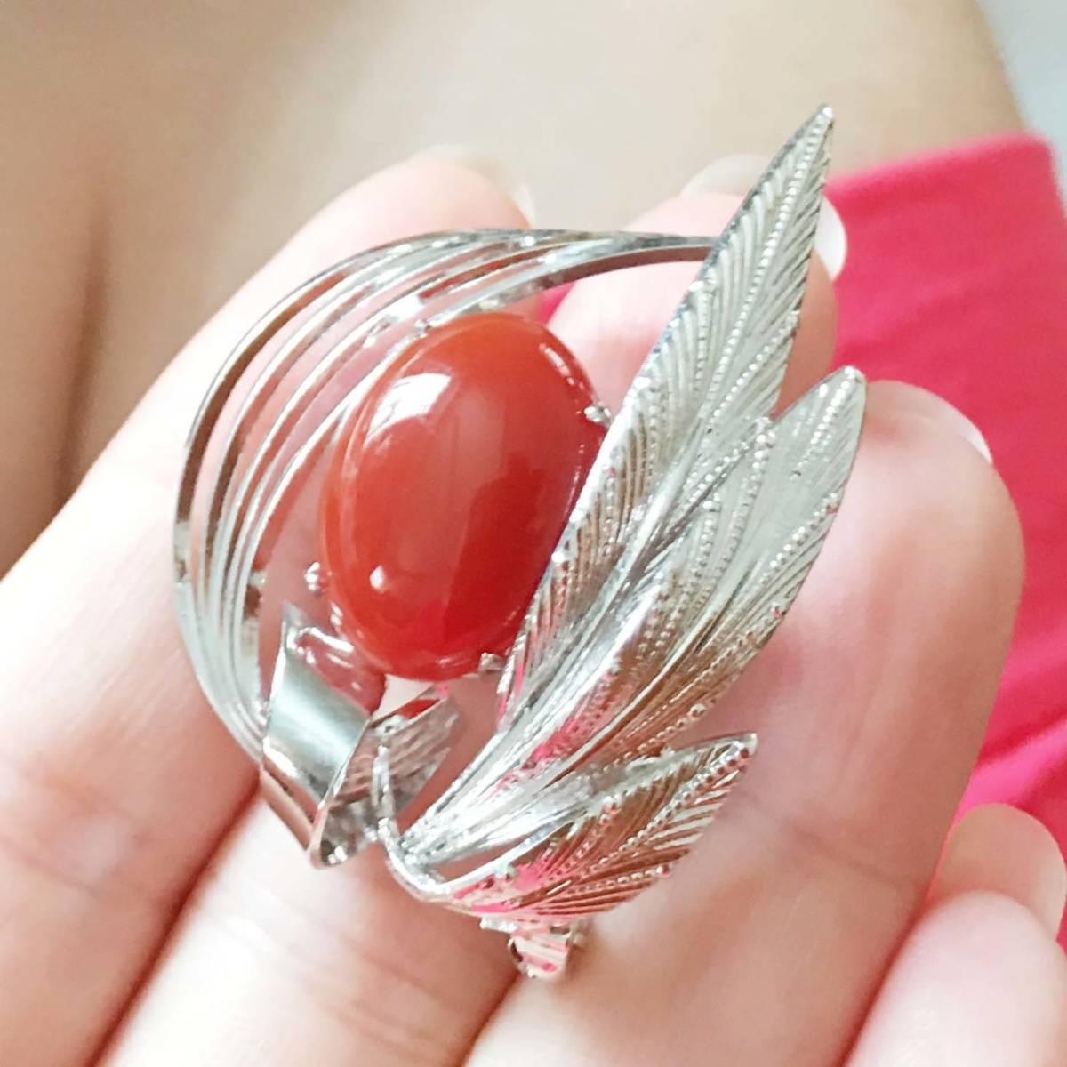 美品 天然赤瑪瑙 銀色 ブローチ NO.4658