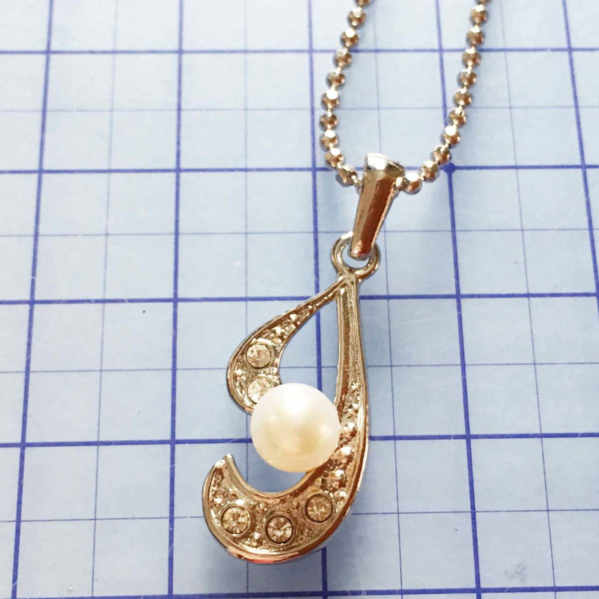 美品 天然真珠パール 銀色ネックレス NO.4658
