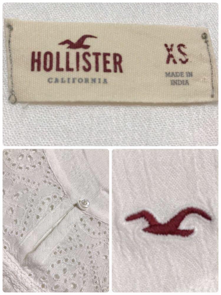 HOLLISTER ホリスター レディース カットソー レース アイコン トップス サイズXS 半袖 170/80Y ホワイト