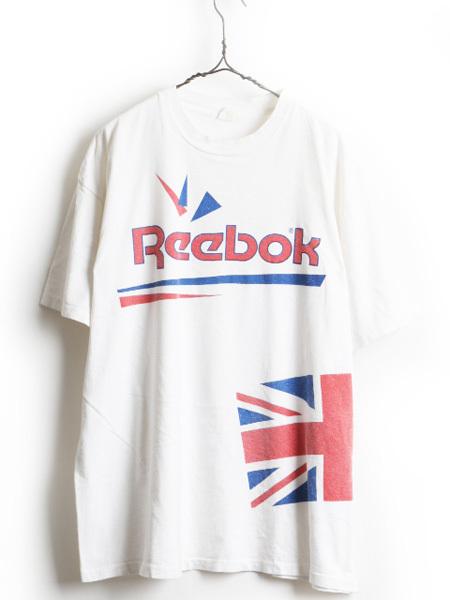 大きいサイズ XXL 90's USA製 ■ Reebok リーボック ビッグ ロゴ 両面 プリント 半袖 Tシャツ ( メンズ 男性 ) 半袖Tシャツ プリントT 白_画像1