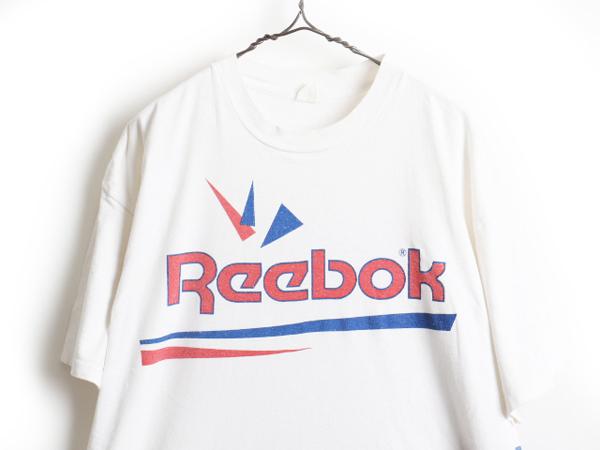 大きいサイズ XXL 90's USA製 ■ Reebok リーボック ビッグ ロゴ 両面 プリント 半袖 Tシャツ ( メンズ 男性 ) 半袖Tシャツ プリントT 白_画像2
