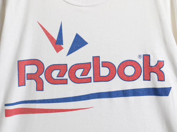 大きいサイズ XXL 90's USA製 ■ Reebok リーボック ビッグ ロゴ 両面 プリント 半袖 Tシャツ ( メンズ 男性 ) 半袖Tシャツ プリントT 白_画像3