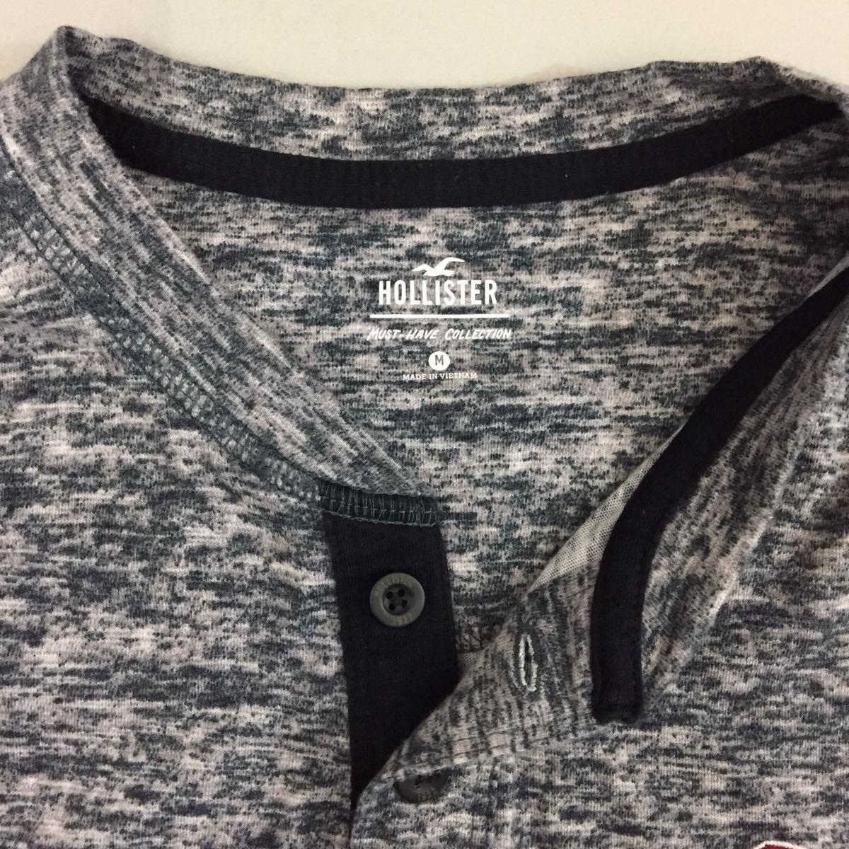 ホリスター HOLLISTER 半袖 Tシャツ しもふり ヘンリーネック カモメロゴ 刺繍 シンプル 定番アイテム グレー メンズ Mサイズ ♭▽