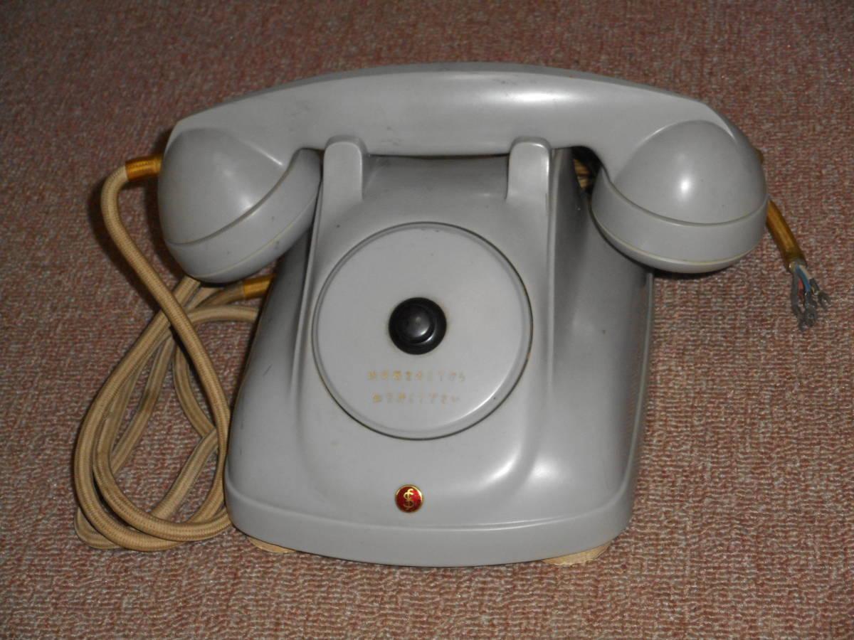 古い電話機★ボタン式・グレー色★メーカー不明_画像1