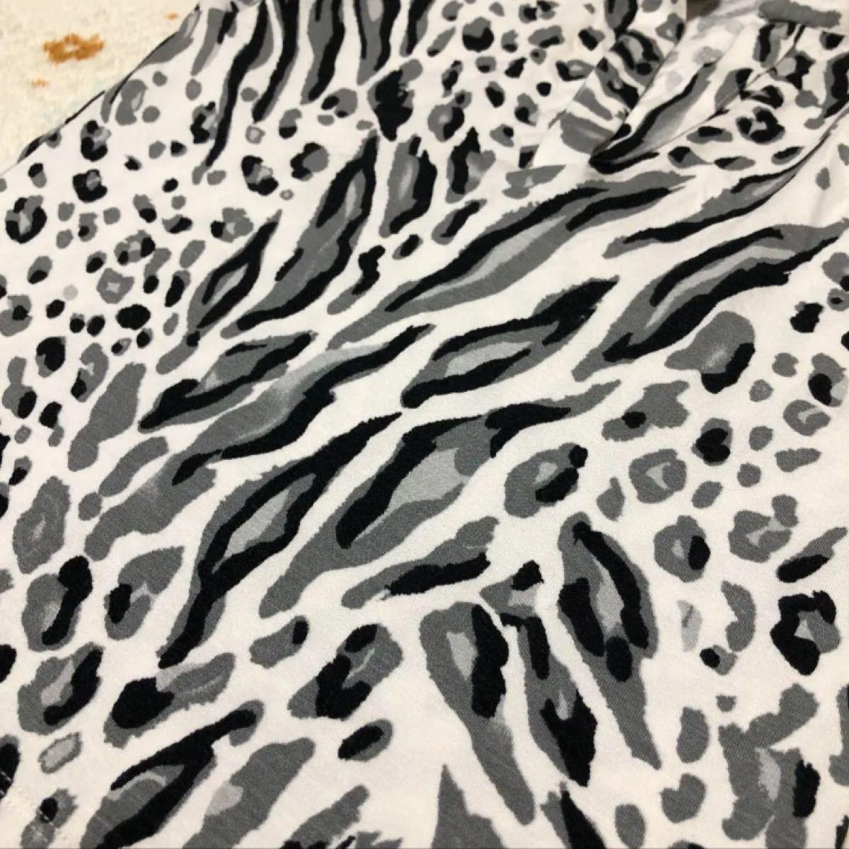 伸縮性 着やすい カットソー 豹柄 アニマル柄