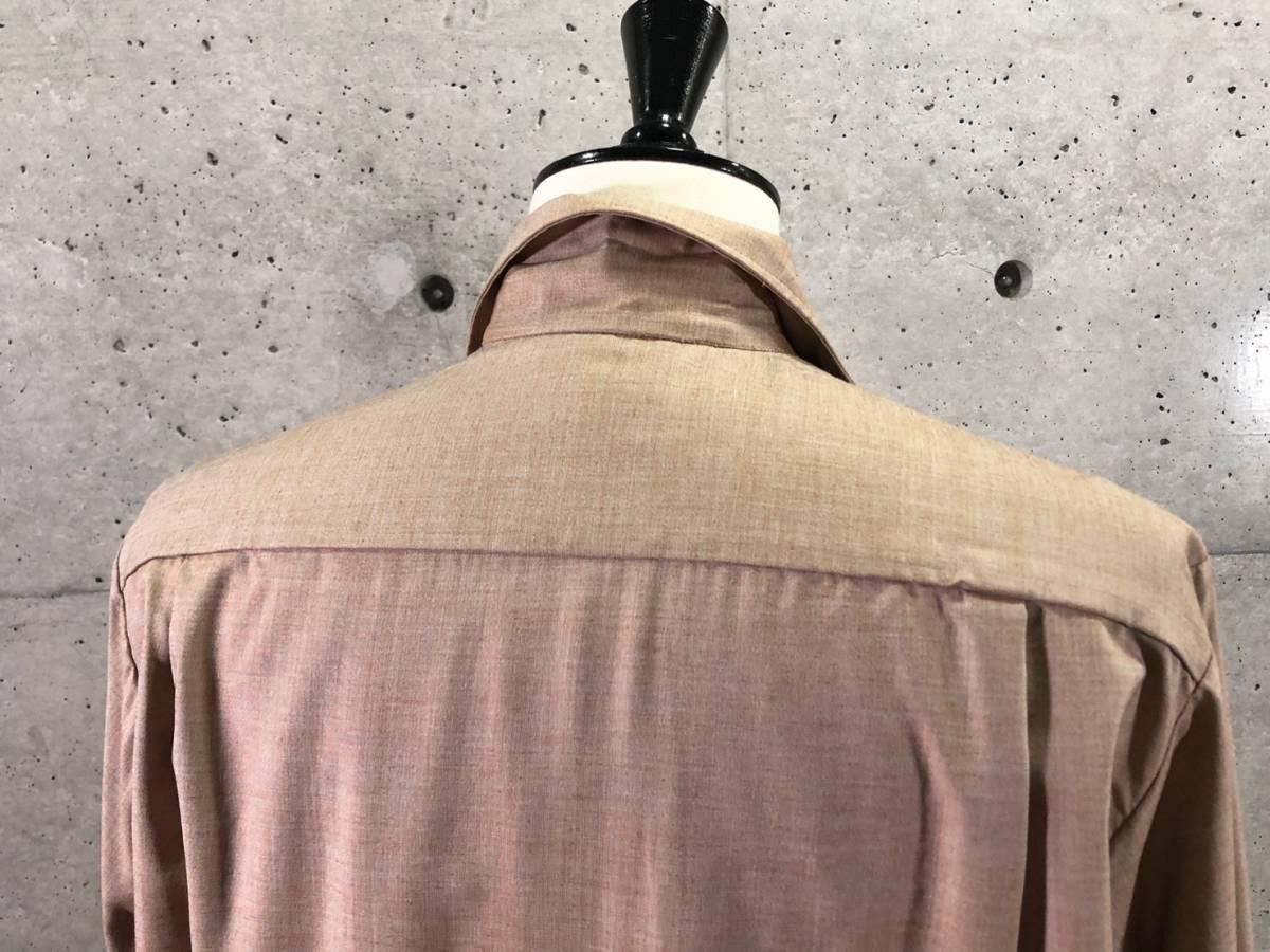 希少《 Dead Stock / Spire 》50s 60s デッド【 ビンテージ カリフォルニア 茶杢 コットン 刺繍 プリント 開襟シャツ M 】 _画像6