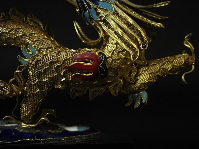 中国美術 銀七宝細工 龍 置物 木造台付【横幅28cm】煎茶道具 時代金工 竜 唐物縁起物時代物 中国古玩 古民具 古美術 骨董品_画像5