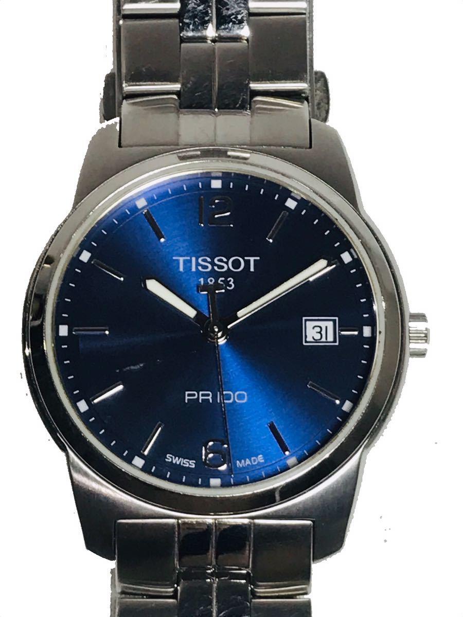☆TISSOT 1853 ティソ PR100 腕時計 アナログ デイト クオーツ シルバー メンズ ブランド ZJZ01ZZH42_画像1