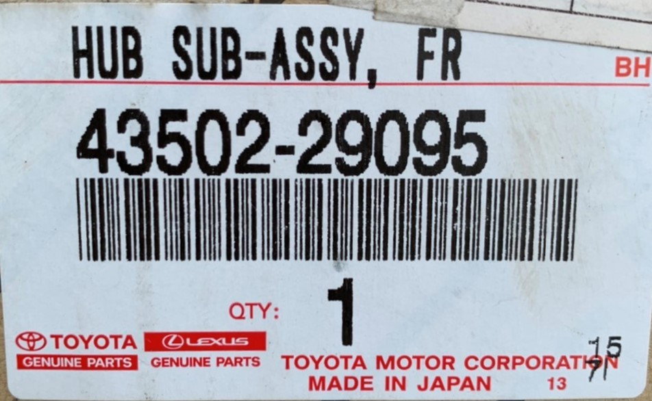 unused goods front axle hub Dyna / Toyoace 43502-29095