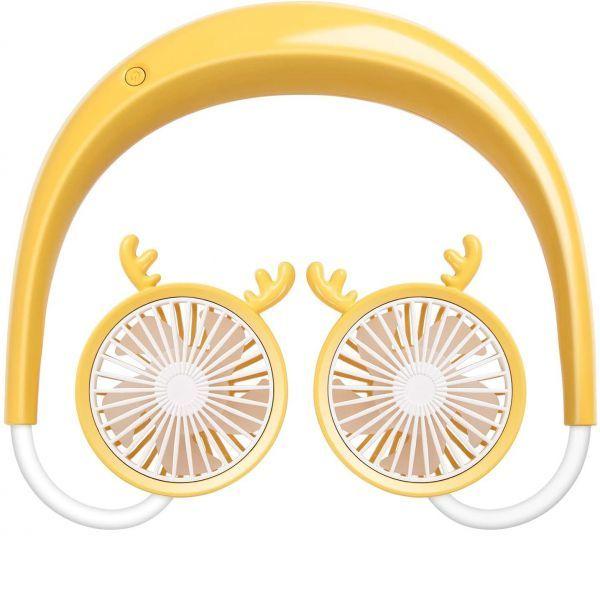 【3484】ハンズフリー扇風機 携帯扇風機 首掛けファン 3段階風量調節 コンパクト 強力 USBファン 小型 360°角度調整 静音 イエロー_画像1