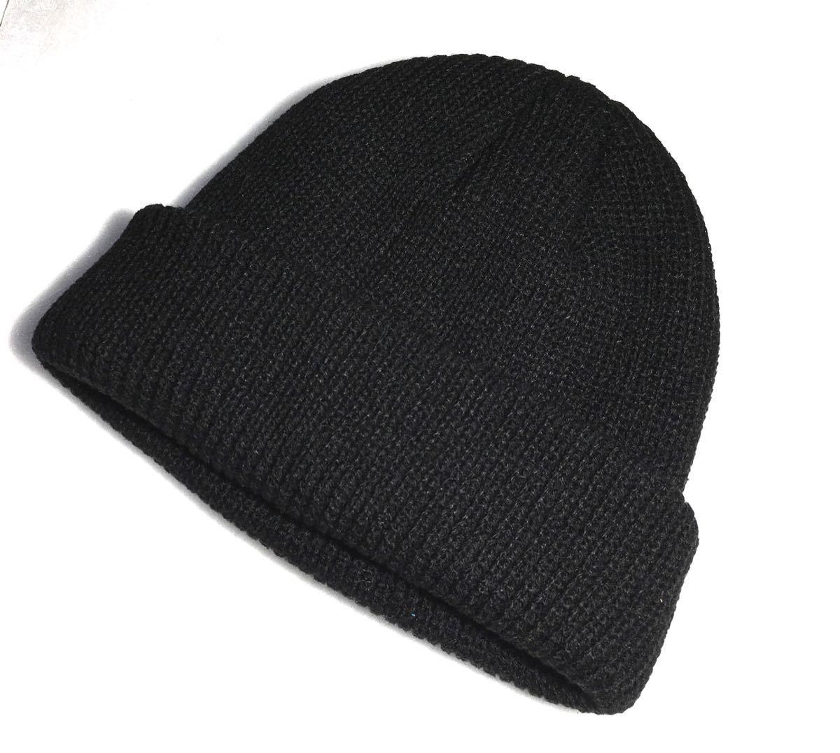 ニット帽 ニットキャップ 浅め ビーニー ストリート系 黒 ブラック サマー