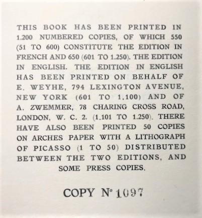 【特価】 ≪  パブロ・ピカソ  ≫  コロタイプ版画  PORTRAIT OF THE PAINTER JUNER   1930年   PABLO PICASSO