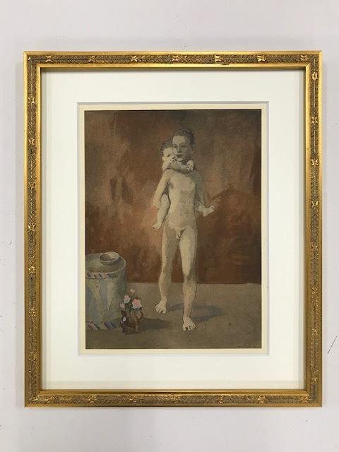 【特価】  ≪  パブロ・ピカソ  ≫  ポショワール【手彩色版画】  MAN  AND  CHILD   1928年   PABLO PICASSO