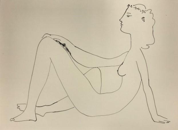 【特価】 ≪  パブロ・ピカソ  ≫  リトグラフ【石版画】  1959年  SEATED NUDE IN PROFILE   PABLO PICASSO