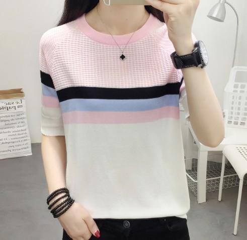 ニット ピンク ニットTシャツ サマーニット Tシャツ 半袖 半袖ニット XL