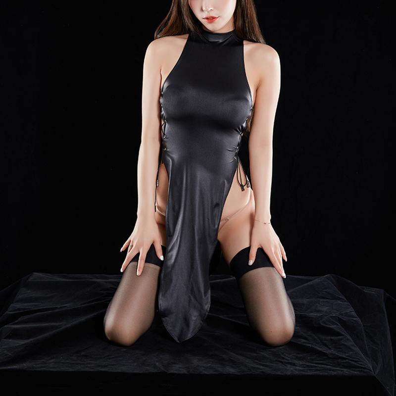z053 超セクシー チャイナ風 ワンピース チャイナドレス 誘惑 ボディコン セクシーランジェリー 勝負下着 コスプレ衣装 コスチューム 黒_画像2