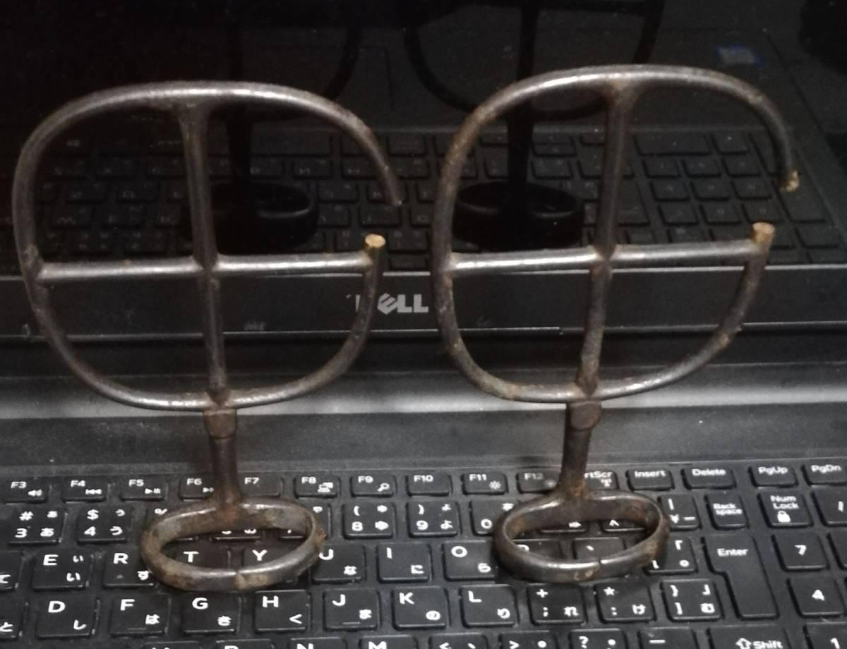 古鉄 置物 久次 在銘 茶道具 箱付 茶道具 釜環 鉄環_画像5