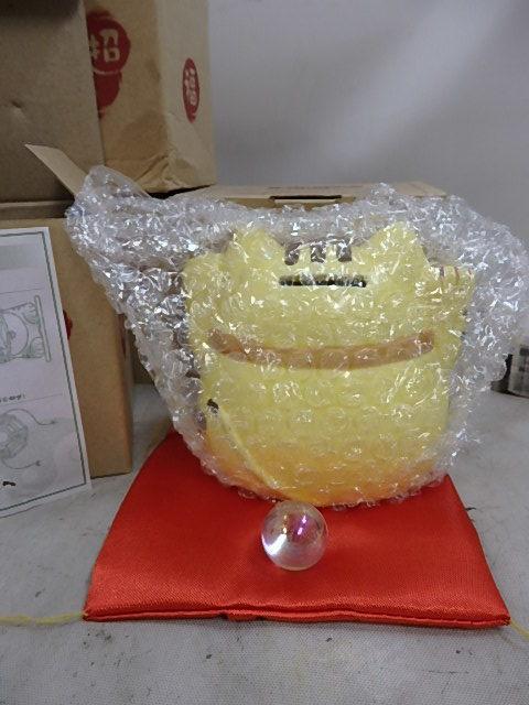 水晶玉付 風水招き猫貯金箱 陶器製 4コ 未使用品_画像4