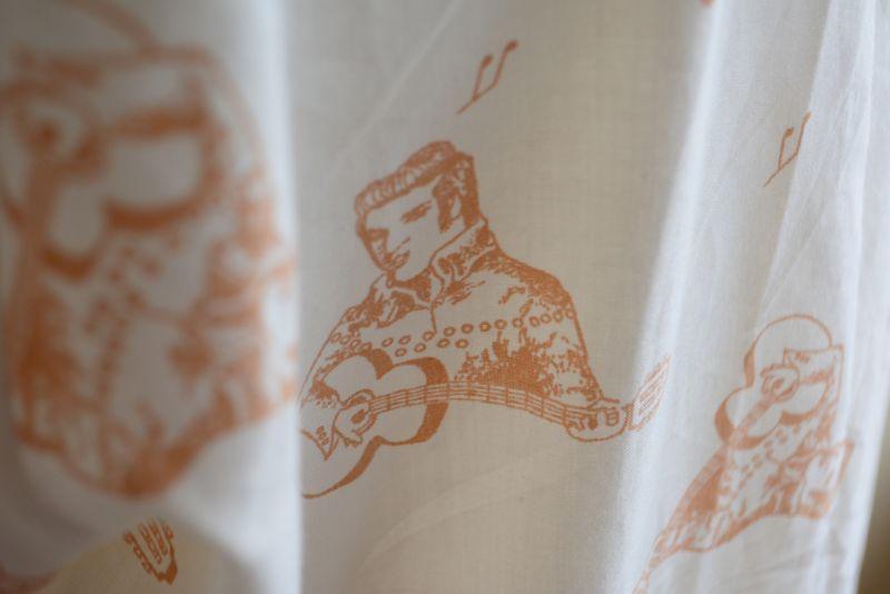 70s FRUIT OF THE LOOM エルビスプレスリー 総柄 半袖シャツ L / ロカビリー ELVIS フルーツオブザルーム ヴィンテージ 古着