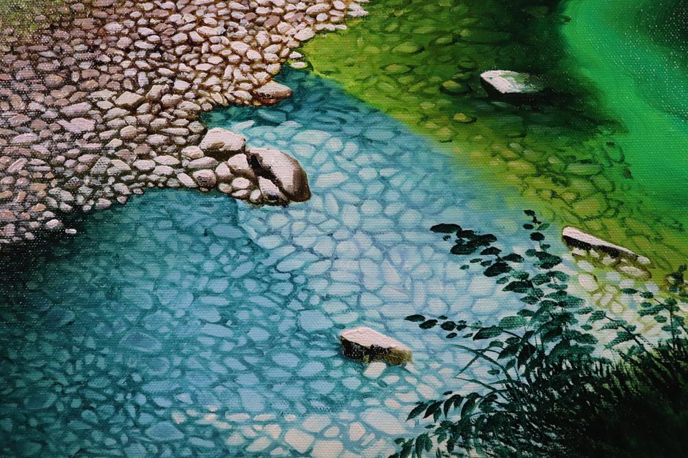 ◆人気◆人見友紀◆洞戸渓谷◆F20号◆伝説の逃亡画家◆美しい山間風景◆圧巻の描写◆_画像4