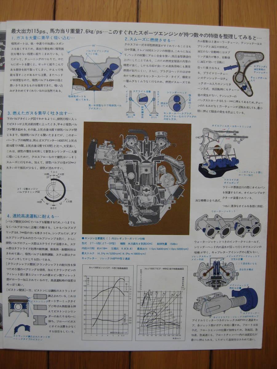 旧車カタログ トヨタ スプリンター トレノ 初代TE27型 四つ折りパンフレット (昭和47年4月版)_画像4