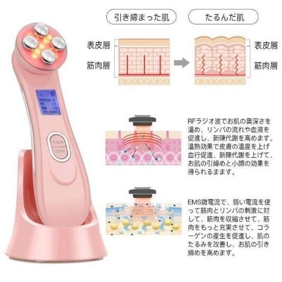 超音波美顔器 多機能 美顔器 イオン導入器 1台5役 RF美顔器 エレクト