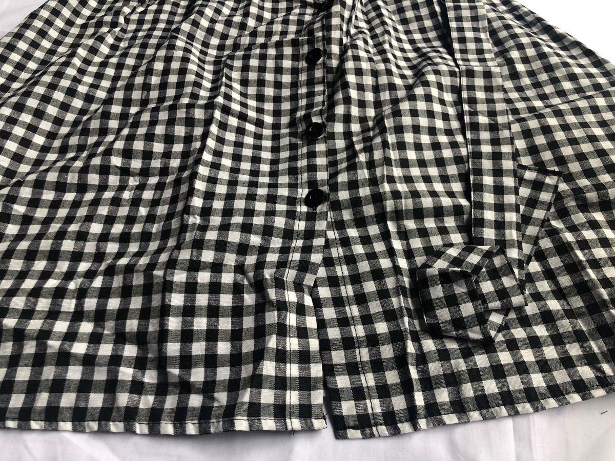セットアップ L 黒 白 チェック フレアスカート Tシャツ ロングスカート