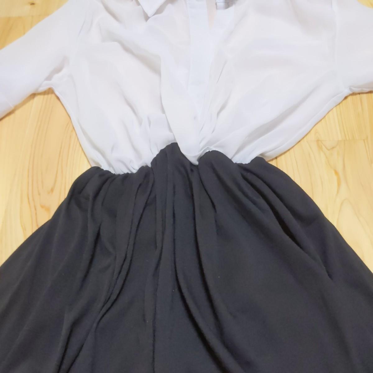 ワンピース 巻きスカート ミニスカート シースルー バイカラー