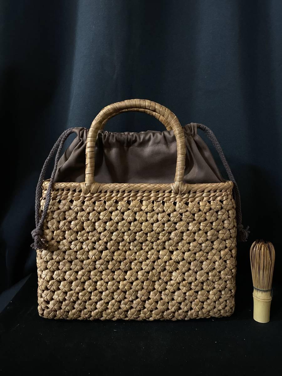 最高級品 極細シリーズ 5ミリ国産蔓1番目皮使用 匠の技 職人手編み 六角花編み山葡萄カゴ バッグ