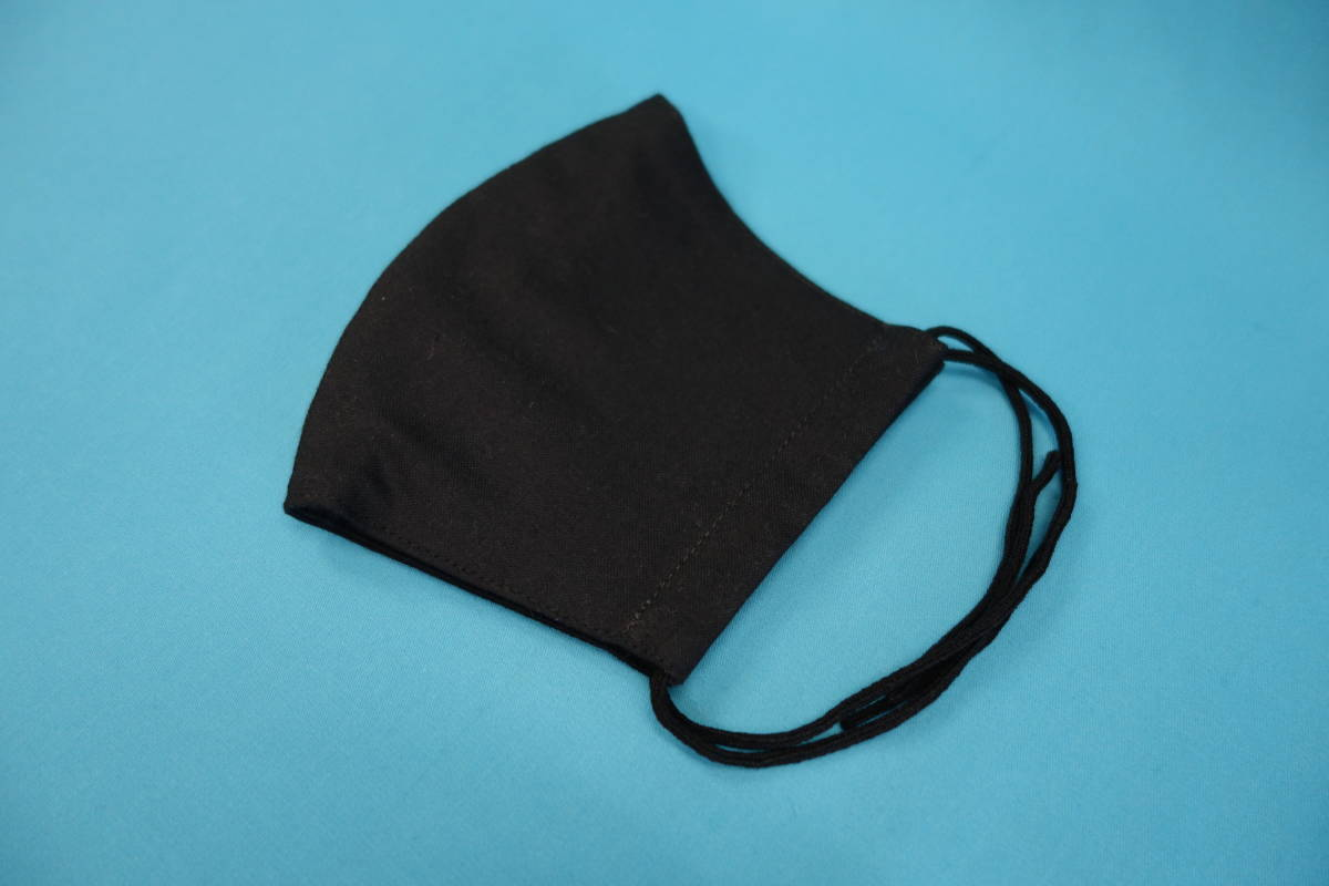 ◆綿100% ◆小顔 ◆黒 ◆シンプル ◆表裏 真っ黒 ◆マスク用ゴム黒 ◆立体 ◆手作り ◆マスクカバー ◆インナー ◆職場 ◆仕事_画像1