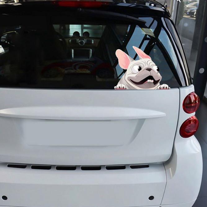 C1121:かわいい フレンチブルドッグ ステッカー 車 窓 装飾 漫画 犬 車 ステッカー 反射 デカール 車 スタイリング_画像8