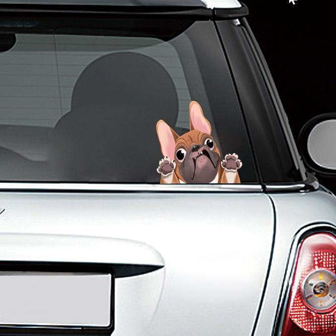 C1121:かわいい フレンチブルドッグ ステッカー 車 窓 装飾 漫画 犬 車 ステッカー 反射 デカール 車 スタイリング_画像6