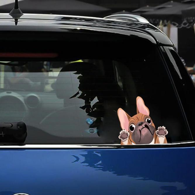 C1121:かわいい フレンチブルドッグ ステッカー 車 窓 装飾 漫画 犬 車 ステッカー 反射 デカール 車 スタイリング_画像5