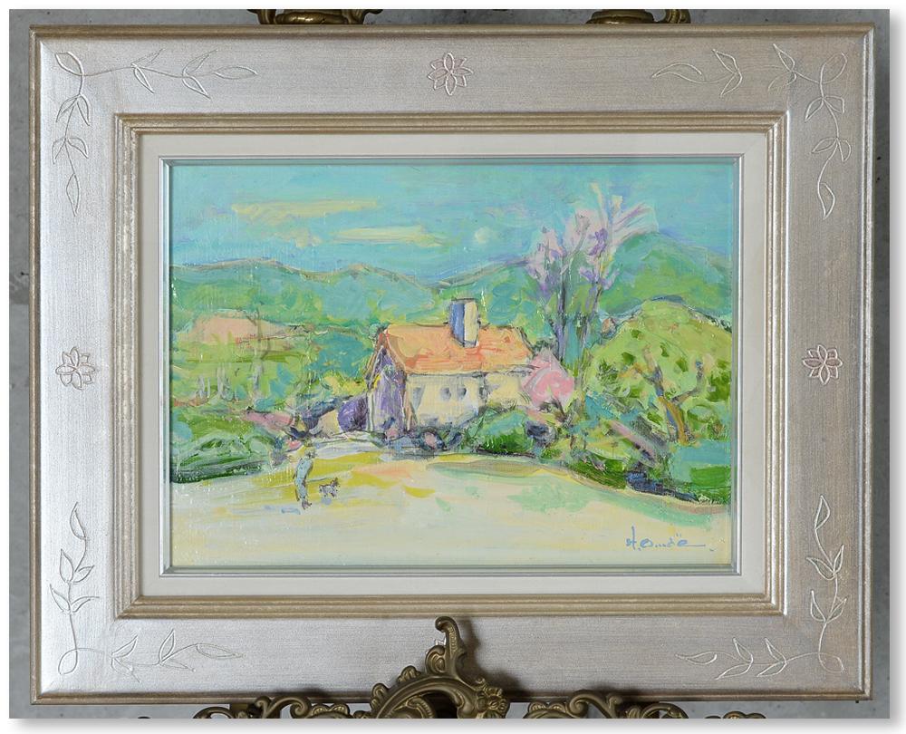 大前博士 油彩4号 「早春のカーニュ風景」 2000年頃の作品 広島 真作保証