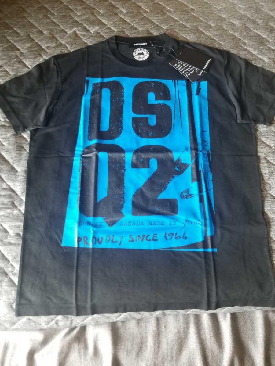 1円~ 新品 DSQUEARD2 ロゴ頭文字入り 半袖Tシャツ ディースクエアード2 2020SS 新作 Tシャツ メンズL、日本XLサイズの方にオススメ
