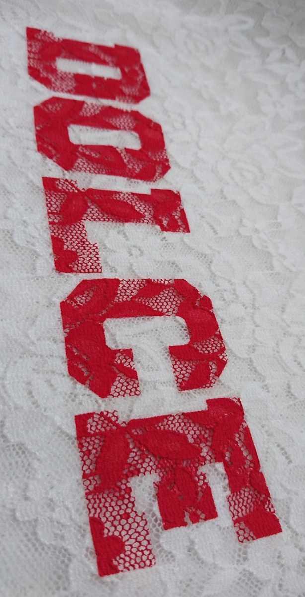 タグ ECLIN レディースF エクラン 半袖カットソー 総レース ストレッチ Tシャツ ロゴプリント オフホワイト 未使用 新品