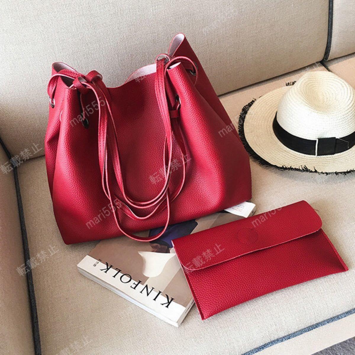 ポーチ付 トートバッグ 2way 大容量 レッド 赤 ショルダー レザー 鞄