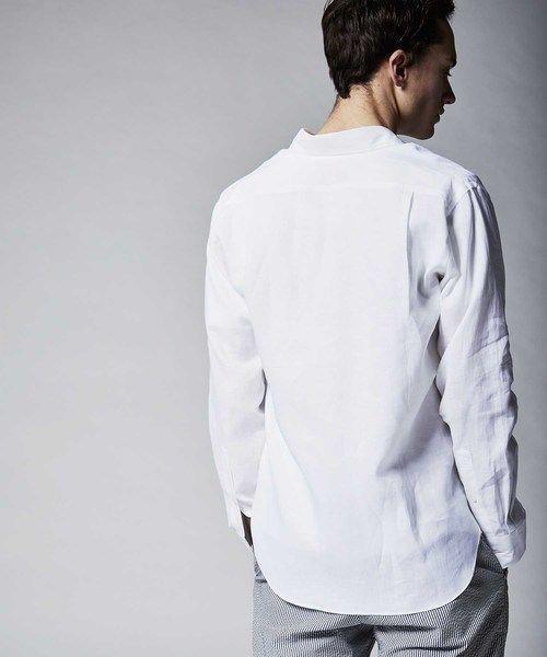 1円/Johnbull/Sサイズ/清涼シャツ 麻リネン100% 日本製 メーカーフッドシャツ 無地 大人リゾート長袖 新品 春夏/紺/ネイビー/ae461/_※モデル着用分は色違いです。