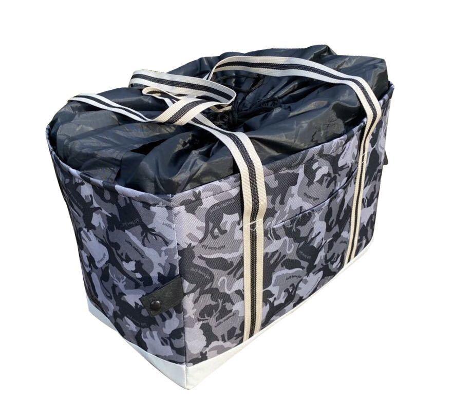 レジカゴバッグ 保冷保温折りたたみ エコバッグ 大容量レジかごバック グレー