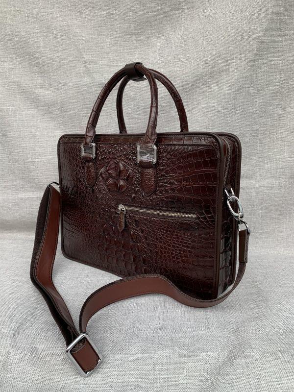 クロコダイル レザー ワニ革 本革 斜め掛け トート ショルダーバッグ A4書類対応 ブリーフケース 旅行通勤出張 ビジネス ハンドバッグ 鞄_画像3