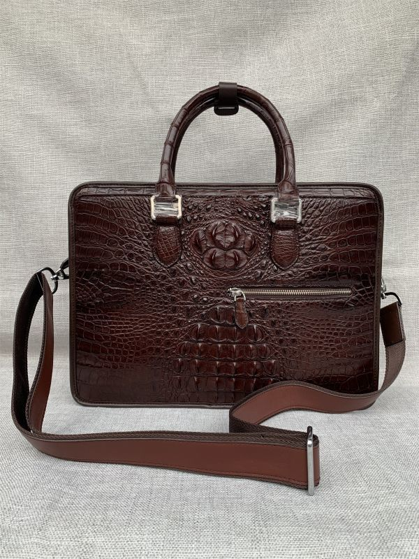 クロコダイル レザー ワニ革 本革 斜め掛け トート ショルダーバッグ A4書類対応 ブリーフケース 旅行通勤出張 ビジネス ハンドバッグ 鞄_画像2