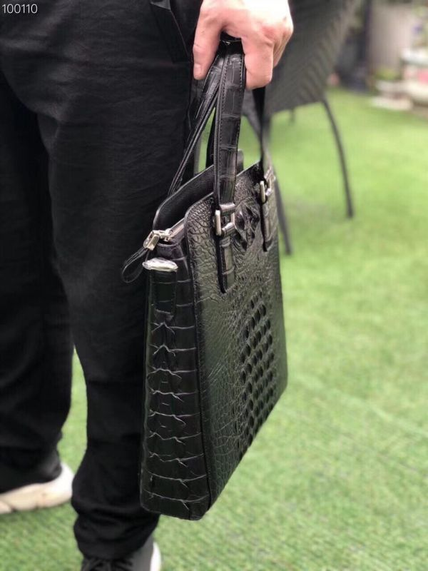 クロコダイル ワニ革 レザー 本革 斜め掛け トート ショルダーバッグ A4/PC対応 ビジネス 鞄 ブリーフケース 出張通勤 メンズ ハンドバッグ_画像8