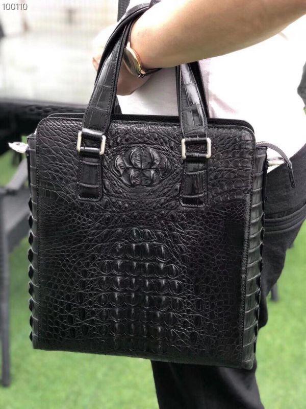 クロコダイル ワニ革 レザー 本革 斜め掛け トート ショルダーバッグ A4/PC対応 ビジネス 鞄 ブリーフケース 出張通勤 メンズ ハンドバッグ_画像1