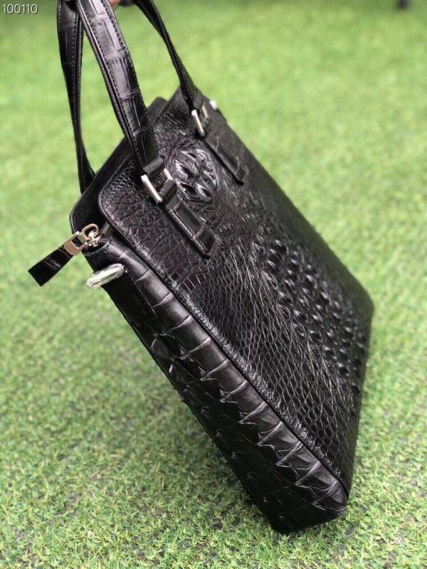 クロコダイル ワニ革 レザー 本革 斜め掛け トート ショルダーバッグ A4/PC対応 ビジネス 鞄 ブリーフケース 出張通勤 メンズ ハンドバッグ_画像6