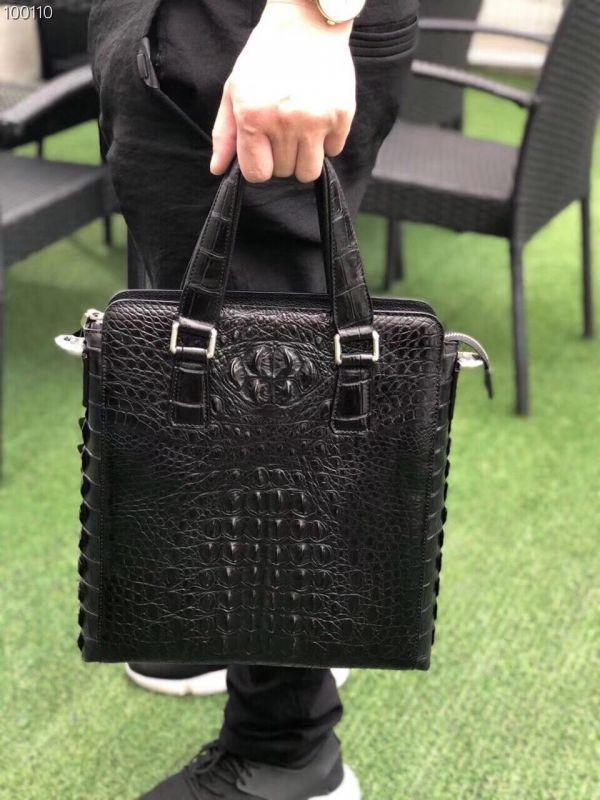 クロコダイル ワニ革 レザー 本革 斜め掛け トート ショルダーバッグ A4/PC対応 ビジネス 鞄 ブリーフケース 出張通勤 メンズ ハンドバッグ_画像9