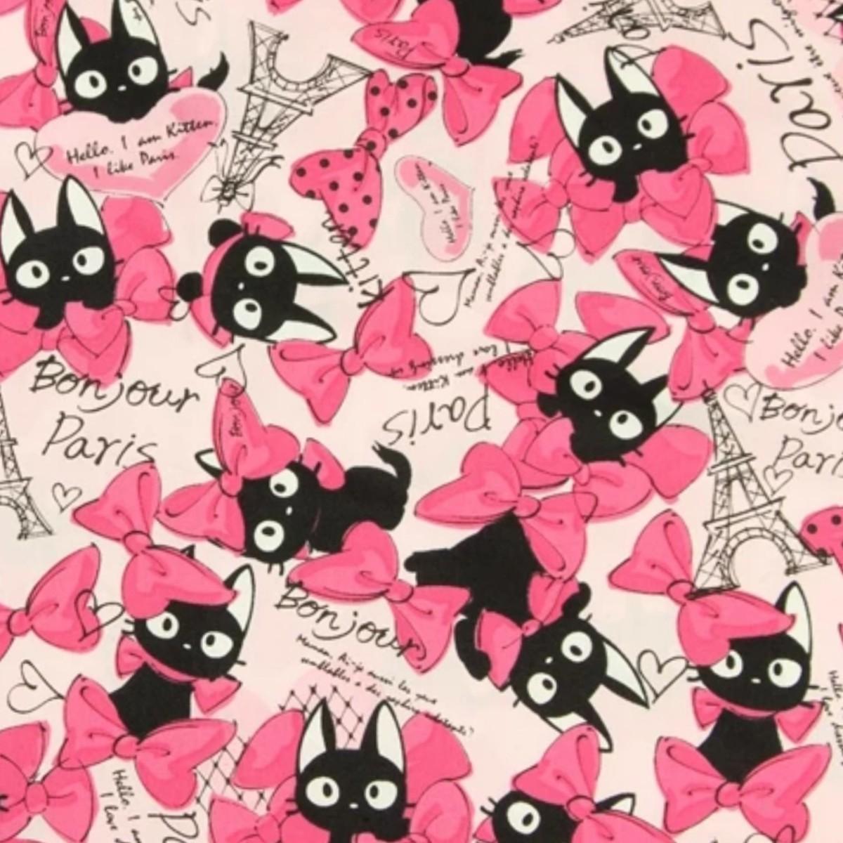 (ピンク)黒猫 生地 はぎれ 110×50cm